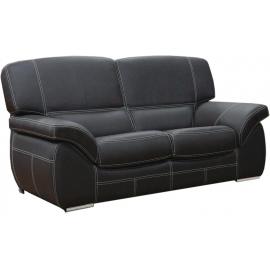 Canapé 2 places en cuir madras noir