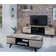 Meuble TV décor chêne brossé - noir