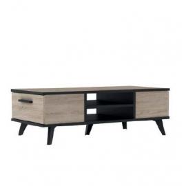 Table de salon décor Chêne brossé - noir