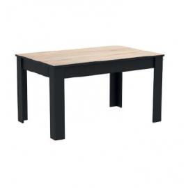 Table repas décor Chêne brossé - noir