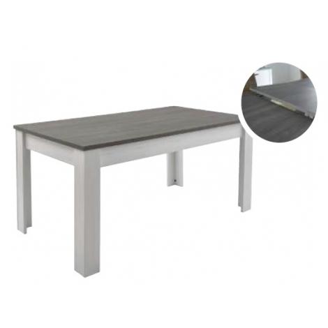 Table avec allonge gris et blanc perle
