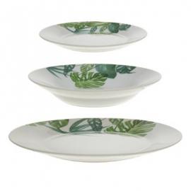 Service vaisselle feuilles tropicales