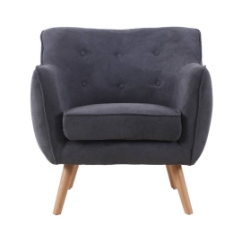 Fauteuil bouton anthracite