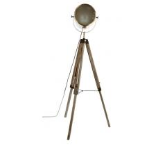 Lampadaire trépied métal et bois