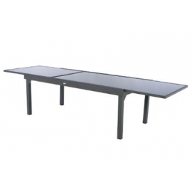 TABLE PIAZZA EXT VERRE GRAPHITE 12P