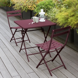TABLE GREENSBORO CARREE BORDEAUX 2P