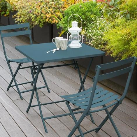 TABLE GREENSBORO CARREE BLEU CANARD 2P